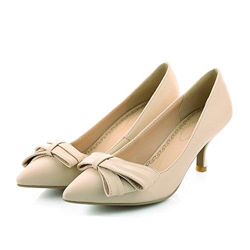 VogueZone009 Damen Weiches Material Spitz Zehe Hoher Absatz Ziehen Auf Rein Pumps Schuhe Cremefarben