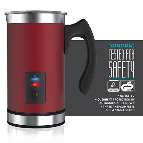 Arendo - Montalatte automatico Milk Frother acciaio inox | per latte caldo e freddo | 115ml | Spegnimento automatico | 20cm x 10cm | Colore Rosso - 4