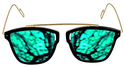 Xforia Green Mirrored Wayfarer Sunglasses for Men & Women