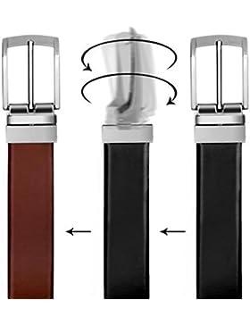 Cinturón Casual Formal VALERIO Reversible en Marrón y Negro para Hombres (DOS EN UNO) de Genuino Completo Cuero...