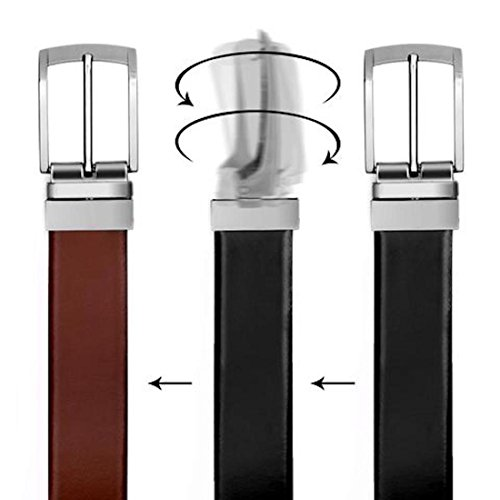 VALERIO Cinturón Casual Formal Reversible en Blanco y Negro para Hombres (Dos EN UNO) de Genuino Completo Cuero Natural con Hebilla Giratoria (80 cm / 28 Inches)