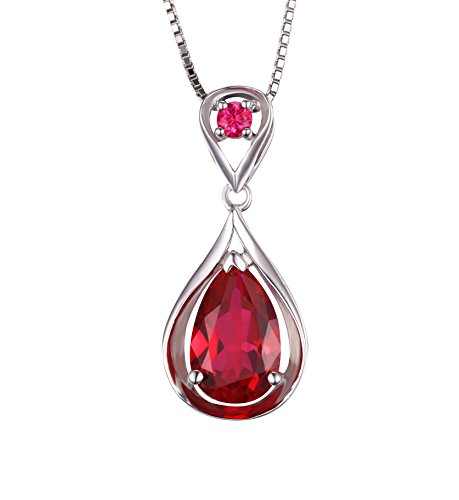 JewelryPalace Plata de ley 925 de las mujeres de 3,8ct collar de pera creado collar de colgante de rubí rojo
