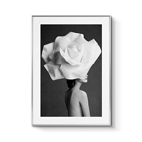 Nordic Zitat Poster mit Blumen für Frauen Wandkunst Leinwand drucken Moderne rahmenlose Malerei 40x60cm