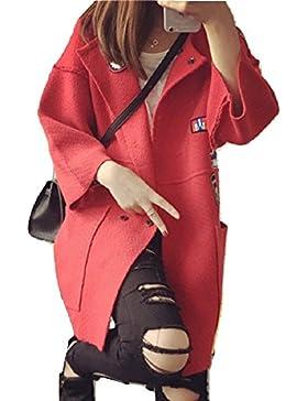 [Patrocinado]Nuevo Rojo de la mujer estilo coreano Badge detalle de punto ropa ropa de abrigo Cárdigan Chaqueta Casual tamaño...