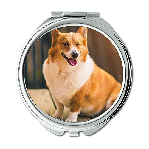 Spiegel, Schminkspiegel, Bunte Hunde Corgi, Taschenspiegel, 1 X 2X Lupe