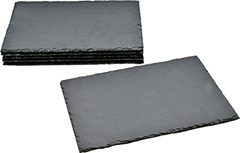 Argon Tableware Rectangular Natural Slate Placemats - Set Of 6