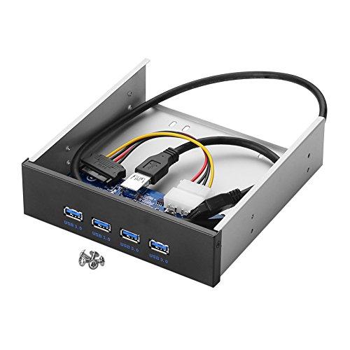 Sienoc 3,5-Zoll-USB 3.0 4-Port Metall-Frontverkleidung USB-Hub mit 15 Pin SATA-Netzanschluss [20 Pin-Stecker & 2 ft-Adapter-Kabel]