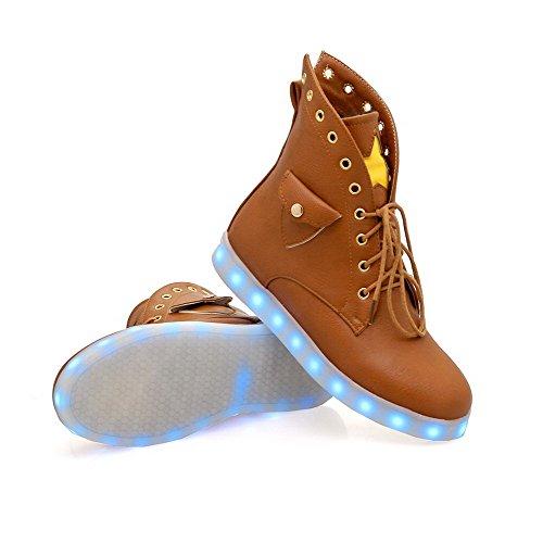 AgooLar Damen Gemischte Farbe Weiches Material Niedriger Absatz Schnüren Rund Zehe Stiefel Braun