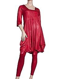 Ballondesign Tunika Kleid Lederoptik mit Trapez-Ausschnitt rot