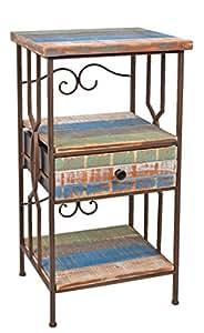 kommode schrank regal im shabby look antik industrie design holz metall telefontisch. Black Bedroom Furniture Sets. Home Design Ideas