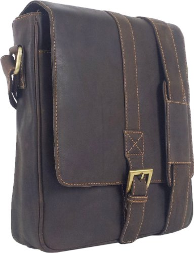 UNICORN Echt Leder Braun ipad , Ebook oder Tablets Messenger Tasche bag #5J (Leder Schwarz London-hunter)