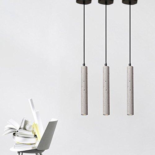 ZMH LED Pendelleuchte esstisch Vintage Pendellampe aus Beton und Arcyl Höhenverstellbar Hängeleuchte Hängelampe Deckenleuchte für Wohnzimmer Esszimmer Restaurant Bar Flur Cafe (3er) …