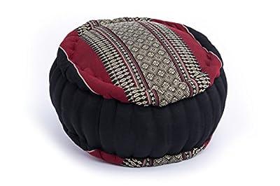 Zafu Meditationskissen mit Füllung aus Kapok 35x20 cm, Thaistil (schwarz-rot)