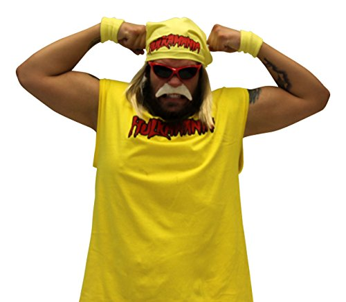 Hulk Hogan Hulkamania Complete Kostüm Set (Erwachsene 3X, Rot Sunglasses/Gelb (Kostüm Hulkamania)