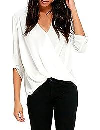 Y-BOA Chemise T-Shirt Femme Mousseline Manches 3/4 Col V Blanc Drapé Top