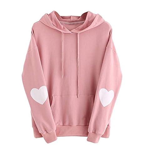 Kapuzenpullis Langarm Damen Hoodie Sweatshirt Mit Pullover Tops Bluse Stickerei Kapuzen Von Xinan (M, Rosa=)