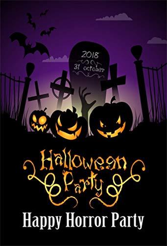 YongFoto 1,5x2,2m Vinyl Foto Hintergrund Halloween Zombie Party Friedhof Grab Grabstein Fotografie Hintergrund für Fotoshooting Fotostudio Requisiten