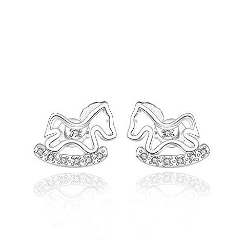 Fjyouria femmes Dainty Licorne Animal Boucles d'oreilles pour femme Plaqué argent Cheval Boucles d'oreille à tige avec cristal