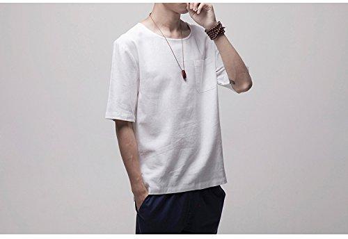 Honghu Herren Brusttasche Kurze Ärmel T-shirt Weiß