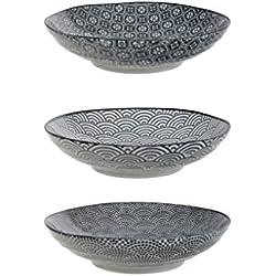 Tokyo Design Studio Nippon Black Pastateller Ø 21cm. 3er-Set Teller. Elegante Muster. Aus hochwertigem Porzellan. Edel und Einzigartig. In schöner Geschenkbox. Spülmaschinenfest. Mikrowellengeeignet.
