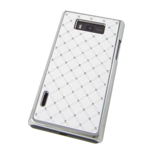 Hardcase / Hülle LG P700 Optimus L7 BLING STRASS Weiß / Chrom Schutzhülle Case Back Cover Schale Strass Bling Back Case