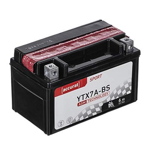 Accurat Motorradbatterie YTX7A-BS 6Ah 100A 12V AGM Roller Starterbatterie in Erstausrüsterqualität trocken vorgeladen inkl. Säurepack wartungsfrei