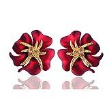 Shining Diva Fashion Crystal Flower Stylish Fancy Party Wear Stud Tops Earrings for Women and Girls