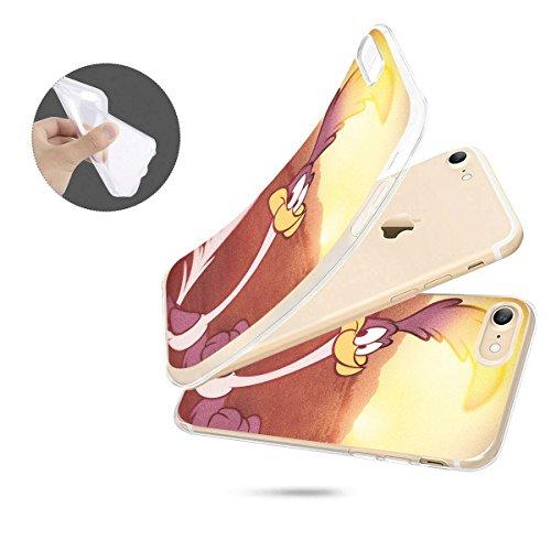 finoo | IPHONE 5 / 5S Weiche flexible lizensierte Silikon-Handy-Hülle | Transparente TPU Cover Schale mit Looney Tunes Motiv | Tasche Case mit Ultra Slim Rundum-schutz | Roadrunner Wüste Roadrunner Sonne