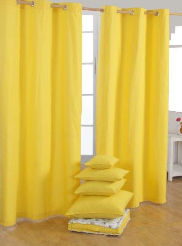 Homescapes, 2 tende in cotone 100%, colore: giallo