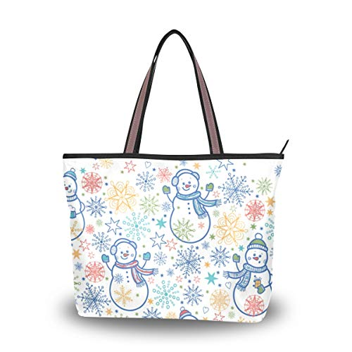 Emoya Tote Bag Cute Snowmen Top Handle Satchel Handtasche Handtasche Schultertasche Messenger Bag L, Mehrfarbig - multi - Größe: Medium -