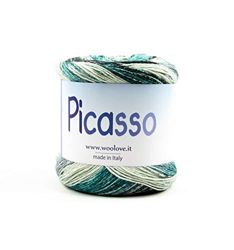 Picasso - filato multicolor in puro cotone, speciale per lavori a maglia e uncinetto. novità primavera 2019 - misto-verde-acqua-nero
