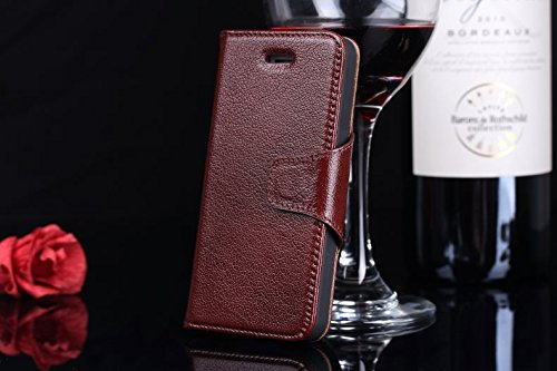 EKINHUI Case Cover Luxus echtes echtes Leder-Kasten-Mappen-horizontale Schlag-Folio-Standplatz-Fall-Abdeckung mit magnetischen Wölbung u. Karten-Schlitzen für IPhone 5 u. 5s u. SE ( Color : Wine red ) Wine red