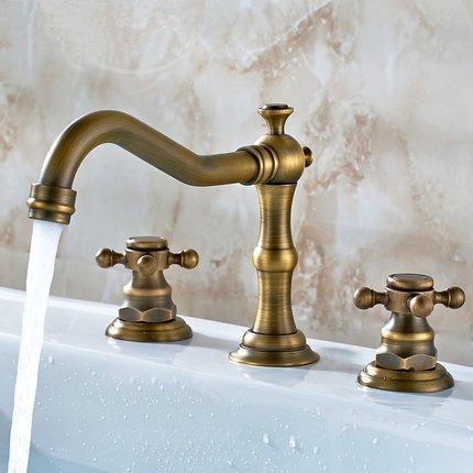 BLYC- Manopola di rame antico tipo caldo e freddo doppio manico rubinetto da incasso