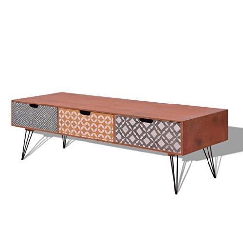 Festnight Meuble TV avec 3 Tiroirs Table Basse en Bois Scandinave Design Marron