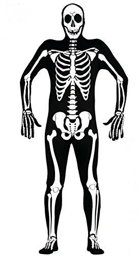 shoperama Ganzkörperanzug mit Skelett-Druck für Herren Halloween-Kostüm Knochen Gr. ()