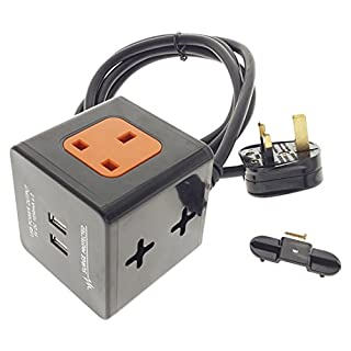 BLACK 2M EXTENSION LEAD CUBE WITH USB SURGE PROTECTED & WALL/TABLE MOUNTABLE