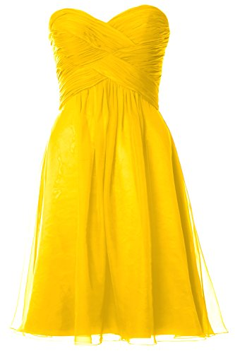 MACloth Women Pleated Chiffon Short Bridesmaid Dress Wedding Party Gown Gelb