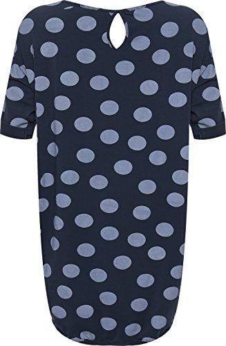 WEARALL Plus Damen Übergroß Ausgebeult Mini Kleid Damen Polka Punkt Stelle Druck Kurz Hülle - 44-54 Dunkelblau