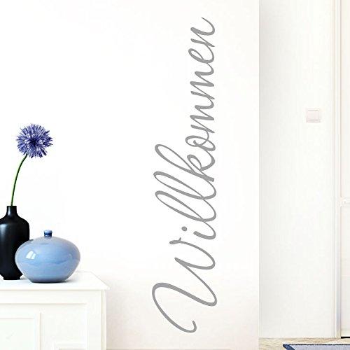 Grandora Wandtattoo Wort Willkommen I silbergrau 26 x 120 cm I deutsch Flur Diele Eingang selbstklebend Aufkleber Wandaufkleber Wandsticker W1099