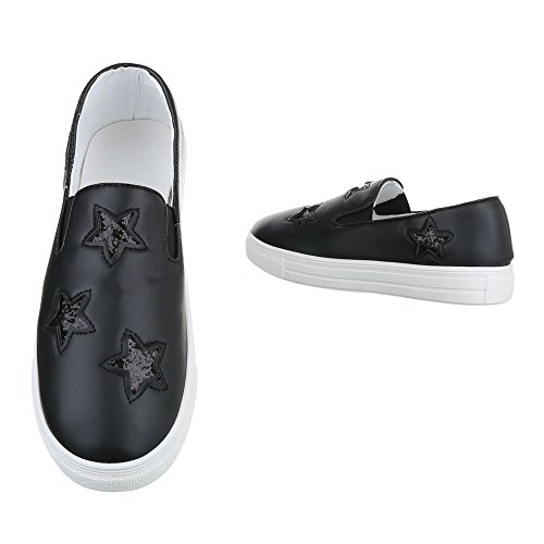 F05 Moderne 2 Damenschuhe Sneakers Schwarz Design Low Ital Freizeitschuhe Sneakers Low wzStY