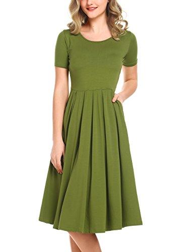 Casual Sommer Kleid Lang mit Tasche Kurzarm Midikleid Elegantes Cocktailkleid Grün Größe S (Sexy Kleid Mit Stiefeln)