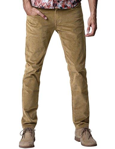 Match Herren Slim-Tapered Flat-Front Casual Kord Hose #8052 8052 Licht khaki