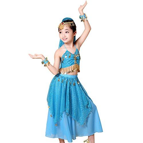 ZAMME Mädchen Elegantes Bauchtanz Kostüm Set (Tops + Kleid + Kopfkette + (Graduierung Kleid Kostüm)
