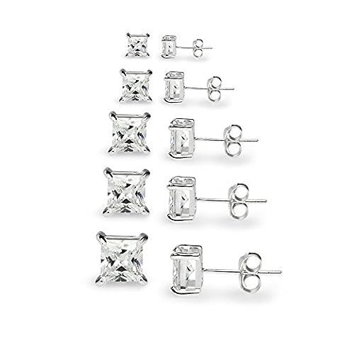 Silverline Jewelry Ensemble de clous d'oreilles carrés en argent sterling 925 avec zircon cubique - Taille princesse (tailles: 3, 4, 5, 6, 7mm)