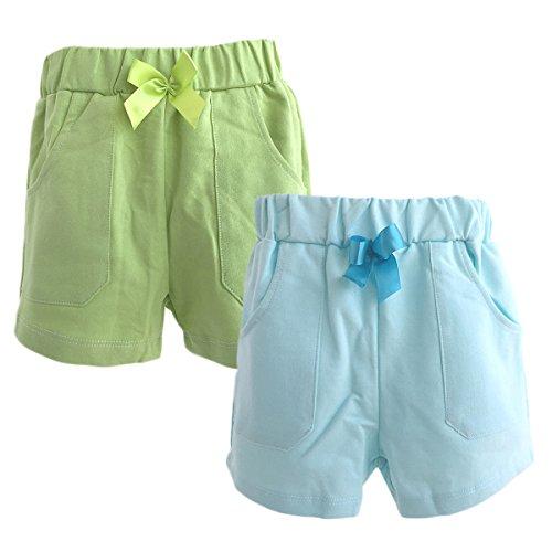 Packung mit 2 Stück Hikfly Baby Jungen Mädchen Bio Baumwolle Französisch Terry Shorts (M, Blau, Grün)