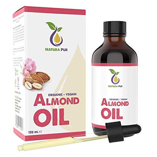 LAUNCH PRICE Natura Pur Organic Sweet Almond Oil 120 ml - 100% Natural, Cold Pressed, Vegan - Anti-Age Serum for Face, Anti-wrinkle, Body, Hair, Skin, Hands, Nails