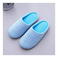 Slippers Women's Men's Soft Breathable Comfort House Cotton Shoes Arch Support Fluffy Light Weight Indoor Shoes Memory Foam Non-slip Slippers Snow Shoes (Color : Men Blue, Size : XXXXL)