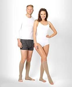 ®BeFit24 Calze elastiche a punta aperta a compressione graduata (23-32 mmHg, 120 Denari, Classe 2) per Uomo e Donna - Gambaletti Antitrombo - Ottime per Vene varicose - [ Size 2 - Short: A - Beige ]