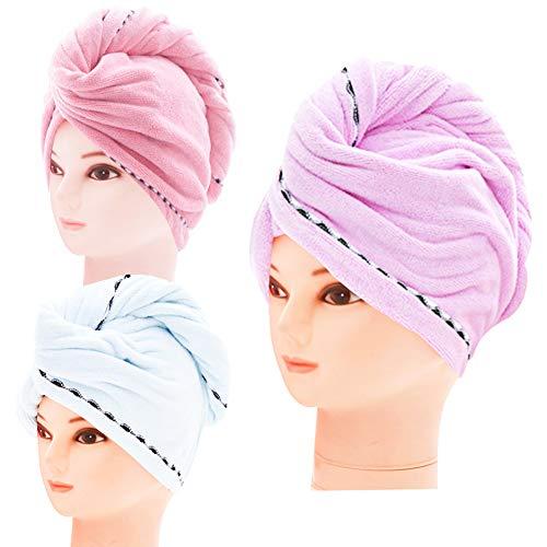 Haartrocken-Handtuch, 3 Packungen Premium Extra saugfähig, schnelle Duschkappe, Kühlungstücher, Twist-Turban, Verdickte Mikrofaser, Blau, Pink, Lila für Kinder, Herren, Damen