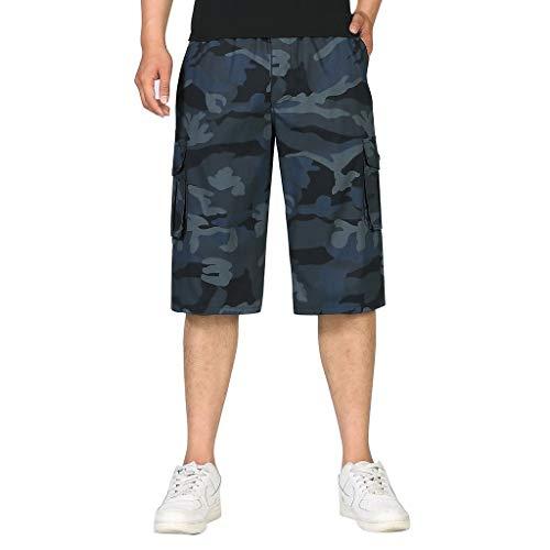 Jogginghose Bermuda Chino Hose Badehose,SUNFANY Herren Large Camouflage Overalls Im Freien Bequeme Kurze HoseRegular Fit(Blau,XL) -